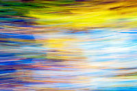 Abstract view of colourful trees and leaves in the autumn sunshine at the pond in Pollok Park, Glasgow.