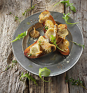 Yellow Oyster mushrooms sauteed in butter and served on sour dough toast with wild rocket