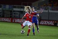 Charlotte Estcourt of Wales Women in action. UEFA Womens Euro qualifying match, Wales Women v Israel Women at Rodney Parade in Newport, South Wales on Thursday 15th September 2016.<br /> pic by Andrew Orchard, Andrew Orchard sports photography.