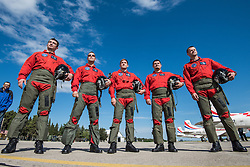 28.06.2015, Zadar, CRO, Akrobatikgruppe Wings of Storm, im Bild die Crew // during a new flight program of the acrobatic group Wings of storm Zadar, Croatia on 2015/06/28. EXPA Pictures © 2015, PhotoCredit: EXPA/ Pixsell/ Dino Stanin<br /> <br /> *****ATTENTION - for AUT, SLO, SUI, SWE, ITA, FRA only*****
