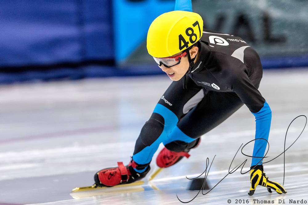December 17, 2016 - Kearns, UT - Wesley Park skates during US Speedskating Short Track Junior Nationals and Winter Challenge Short Track Speed Skating competition at the Utah Olympic Oval.