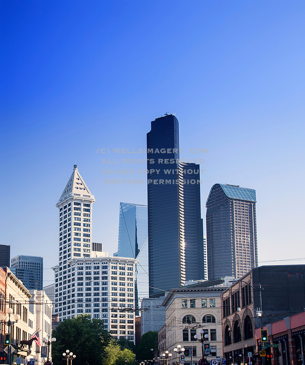 Image of Seattle buildings downtown from Pioneer Square, including the famous Smith Tower, Seattle, Washington, Pacific Northwest by Randy Wells