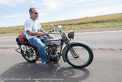 Bill Page of Kansas riding his single-cylinder 1915 Harley-Davidson class-2 motorcyle during the Motorcycle Cannonball Race of the Century. Stage-8 from Wichita, KS to Dodge City, KS. USA. Saturday September 17, 2016. Photography ©2016 Michael Lichter.