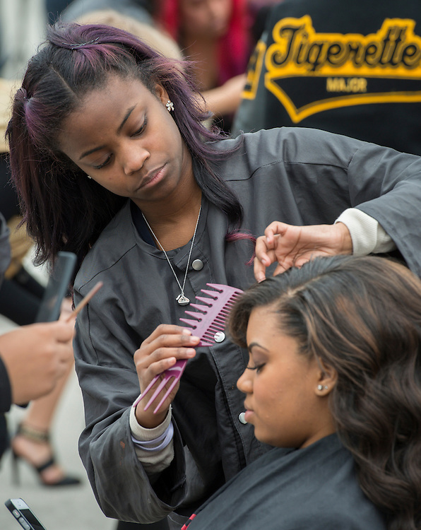 Barbara Jordan High School students participate in a cosmetology competition at the When I Grow Up fair, March 8, 2014.