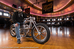 Enrico de Haas of Huettenberg, Germany on his all electric chopper, named AlSi9Mg (from the aluminum chemical mixture used for the bike). The motor is hidden in what you may think is an oil bag and most of the bike is more like a one-off sculpture. Mama Tried Show, Milwaukee, WI. USA. Friday February 23, 2018. Photography ©2018 Michael Lichter.