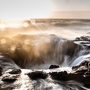 Thor's Well at sunset on the Oregon Coast.  ©Michael Der, /ALL RIGHTS RESERVED.<br />