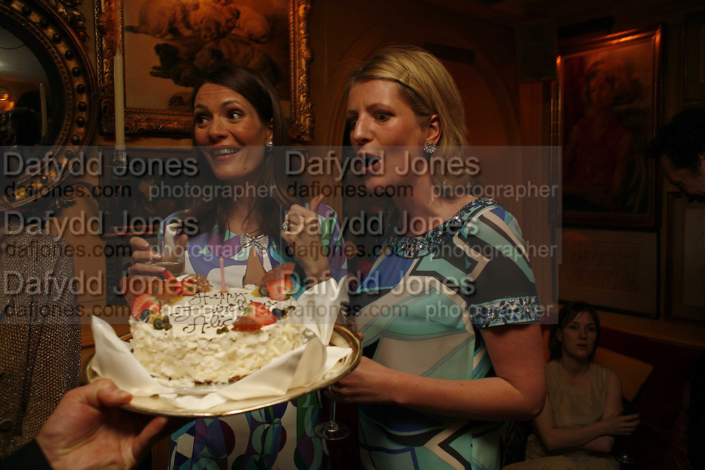 Plum Sykes and Alice Sykes, Plum Sykes, book launch party, Annabel's, Berkeley Square, London, W1,10 May 2006.  Matthew Williamson, Catherine Vautrin, Laudomia Pucci host party to celebrate 'The Debutante Divorcee'. ONE TIME USE ONLY - DO NOT ARCHIVE  © Copyright Photograph by Dafydd Jones 66 Stockwell Park Rd. London SW9 0DA Tel 020 7733 0108 www.dafjones.com
