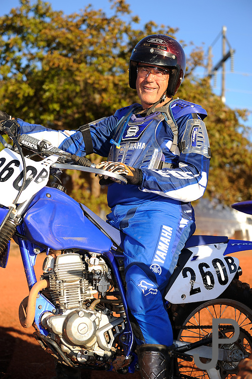 68 year old Glen Sinclair on his Yamaha TTR-250 motorcycle.  Glen quit racing in 1978 and started up again with his daughter and grandkids in 2007 and now races OCCRA circuit.