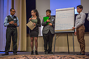 Purchase, NY – 31 October 2014. The Peekskill High School team presenting their case. (Left to right: Jovanny Elliott, Ariel Ortiz, Chris Garzon, Oswal Perez.) The Business Skills Olympics was founded by the African American Men of Westchester, is sponsored and facilitated by Morgan Stanley, and is open to high school teams in Westchester County.