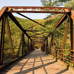An old bridge spans the Deerfield River in Rowe, Massachusetts.