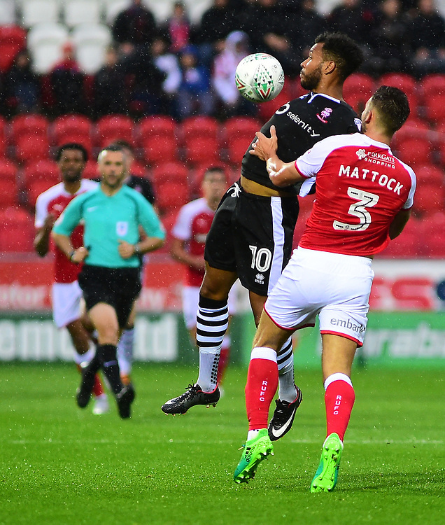 Lincoln City's Matt Green vies for possession with Rotherham United's Joe Mattock<br /> <br /> Photographer Andrew Vaughan/CameraSport<br /> <br /> The Carabao Cup First Round - Rotherham United v Lincoln City - Tuesday 8th August 2017 - New York Stadium - Rotherham<br />  <br /> World Copyright © 2017 CameraSport. All rights reserved. 43 Linden Ave. Countesthorpe. Leicester. England. LE8 5PG - Tel: +44 (0) 116 277 4147 - admin@camerasport.com - www.camerasport.com