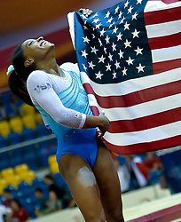 November 1, 2018 - Doha, Qatar - Gold medalist Simone Biles of the United States celebrates after the Women's All-Around Final at the 2018 FIG Artistic Gymnastics World Championships. (Credit Image: © Yangyuanyong/Xinhua via ZUMA Wire)