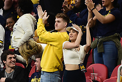 Michigan Wolverines fans during the Chick-fil-A Bowl Game at  the Mercedes-Benz Stadium, Saturday, December 29, 2018, in Atlanta. ( Kyle Hess via Abell Images for Chick-fil-A Kickoff)