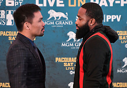 Nov 11-20-18. Los Angeles, CA.(L-R)  Senator Manny ''Pacman'' Pacquiao, boxing's only eight-division world champion poses with Adrien Broner during a Los Angeles press conference on their upcoming fight Tuesday. The two will fight in Jan 19,2019 in Las Vegas at the MGM and PPV on showtime..Photo by Gene Blevins/ZumaPress. (Credit Image: © Gene Blevins/ZUMA Wire)