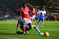 Kieran Agard of Bristol City is challenged by Christian Burgess of Peterborough United - Photo mandatory by-line: Rogan Thomson/JMP - 07966 386802 - 28/11/2014 - SPORT - FOOTBALL - Peterborough, England - ABAX Stadium - Peterborough United v Bristol City - Sky Bet League 1.