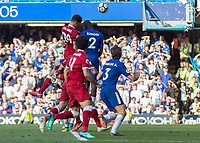 Football - 2017 / 2018 Premier League - Chelsea vs. Liverpool<br /> <br /> Dominic Solanke (Liverpool FC)  rises high in the later stages of the game at Stamford Bridge <br /> <br /> COLORSPORT/DANIEL BEARHAM