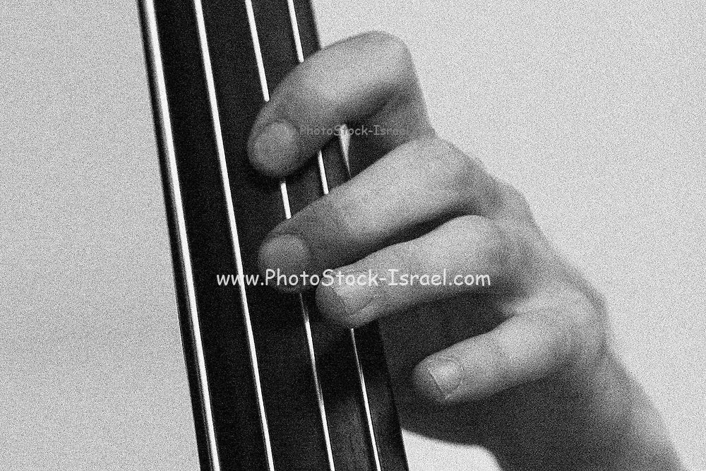 Playing the contrabass, Close up black and white