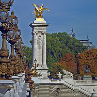 The Pont Alexandre III connecting the 7th arrondissement near the Eiffel Tower to the Grand Palais in Paris