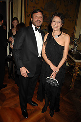 The HON.SIR ROCCO FORTE and his sister the HON.OLGA SHAWCROSS at a dinner hosted by the Italian Ambassador for the Buccellati family held at the Italian Embassy, Grosvenor Square, London on 28th March 2007.<br />