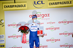Remi CAVAGNA (FRA) pictured celebrating on the podium as he receives the most aggressive rider prize at the end of stage 19 of Tour de France cycling race, over 166,5 kilometers (103.4 miles) with start in Bourg-en-Bresse and finish in Champagnole, France,Friday, September 18, 2020.//JEEPVIDON_1615018/2009191626/Credit:jeep.vidon/SIPA/2009191634 / Sportida