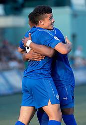 May 28, 2017 - Hong Kong, Hong Kong SAR, China - Joshua Gordon is congratulated on scoring Leicester city's first goal.Leicester City win their second HKFC Citi Soccer Sevens title following a 3-0 victory over defending champions Aston Villa in the final.2017 Hong Kong Soccer Sevens at the Hong Kong Football Club Causeway Bay. (Credit Image: © Jayne Russell via ZUMA Wire)