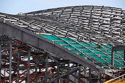 Aquatics Centre. Construction on the Aquatics Centre. The distinctive shape of the roof is clearly visible. Picture taken on 23 Jun 09 by David Poultney.