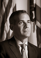 Los Angeles Mayor Eric Garcetti in his office in City Hall July 14, 2016. Photo by David Sprague