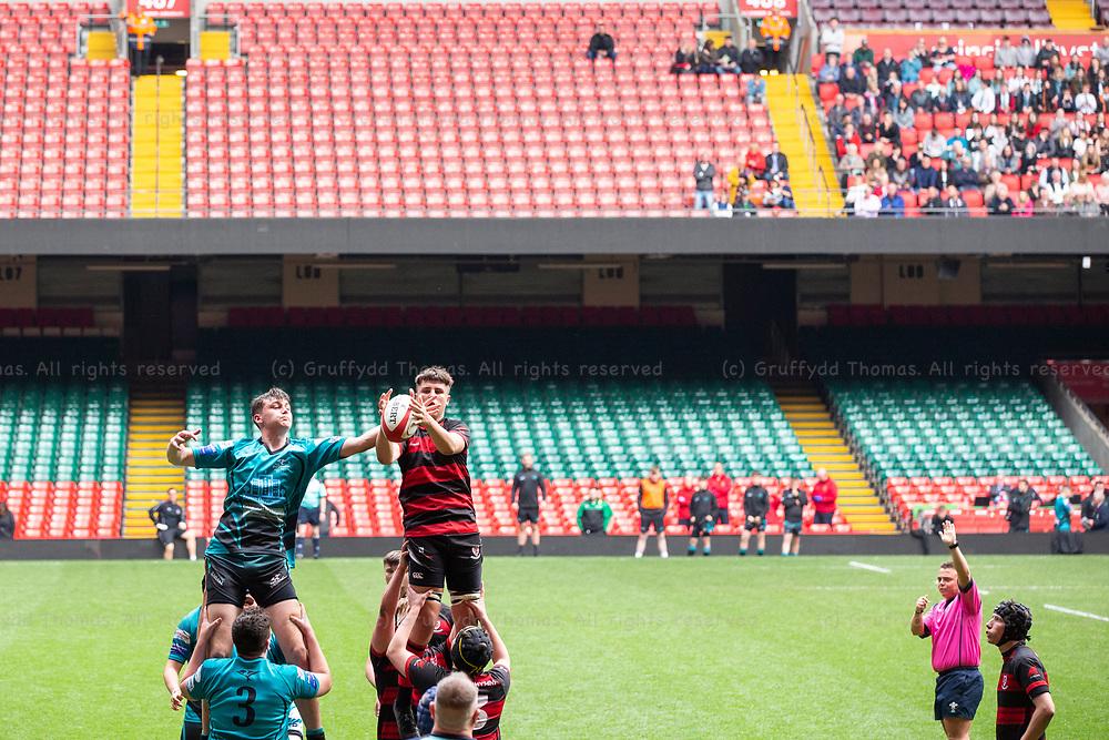 Principality Stadium, Cardiff, Wales, UK. Wednesday 1 May 2019. Ysgol Cwm Rhymni v Ysgol Bro Dinefwr compete in the Welsh Schools Rugby Union Under 18 Plate Final