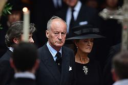Norton Knatchbull (centre), 3rd Earl Mountbatten of Burma, and his wife Penelope leaving the funeral of Countess Mountbatten of Burma at St Paul's Church, Knightsbridge, London.