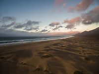 Aerial view of Cofete beach in National Park of Jandía  in Fuerteventura, Canary Islands.