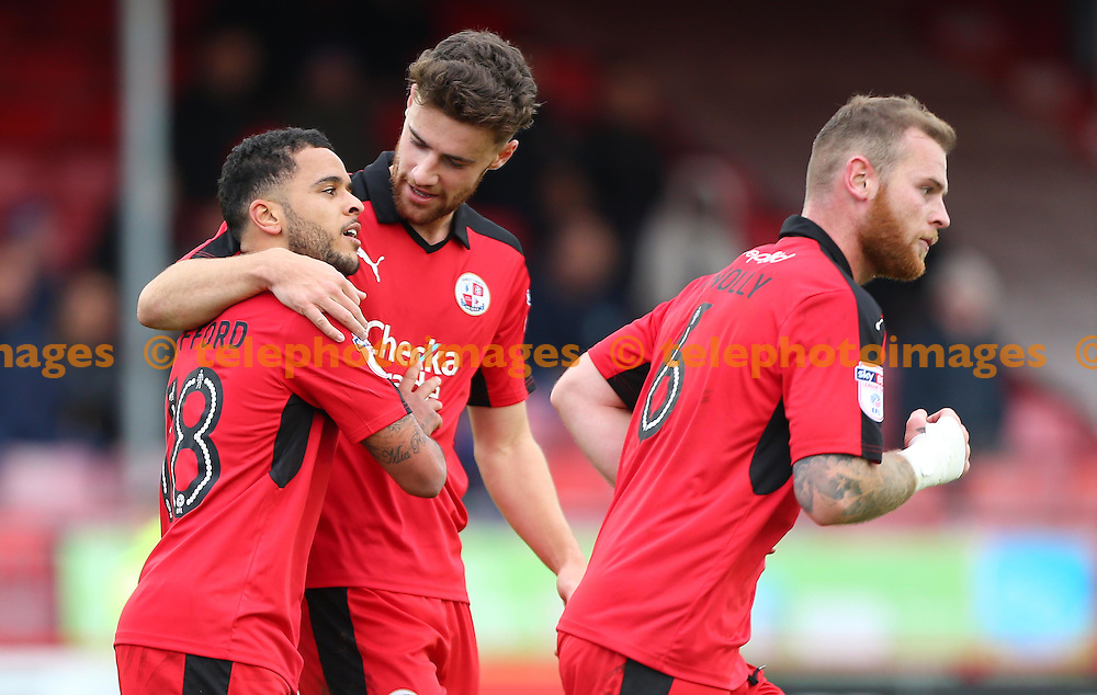 Crawley's Billy Clifford celebrates after scoring during the FA Cup match between Crawley Town and Bristol Rovers at the Checkatrade Stadium in Crawley. November 5, 2016.<br /> James Boardman / Telephoto Images<br /> +44 7967 642437