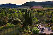 Evening drinks on the terrace of a country holiday house, 25th August 2014, Lagrasse France.
