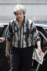 © Licensed to London News Pictures. 16/07/2018. London, UK. Prime Minister Theresa May arrives at the back of Downing Street.  Justine Greening MP has said in an interview with The Times that a second referendum on leaving the EU should be held. Photo credit: Peter Macdiarmid/LNP