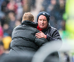 Hibernian's manager Neil Lennon and Falkirk's manager Peter Houston at the end. Falkirk 1 v 2 Hibernian, Scottish Championship game played 31/12/2016 at The Falkirk Stadium .