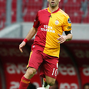 Galatasaray's Arda TURAN during their Turkish superleague soccer derby match Galatasaray between Trabzonspor at the TT Arena in Istanbul Turkey on Sunday, 10 April 2011. Photo by TURKPIX