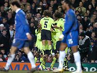 Photo: Richard Lane.<br />Chelsea v Barcelona. UEFA Champions League. 22/02/2006.<br />Barcelona celebrate an own goal by Chelsea's John Terry.
