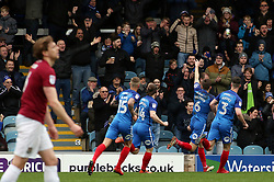 Jack Baldwin of Peterborough United celebrates scoring the opening goal in front of jubilant Peterborough United supporters - Mandatory by-line: Joe Dent/JMP - 02/04/2018 - FOOTBALL - ABAX Stadium - Peterborough, England - Peterborough United v Northampton Town - Sky Bet League One
