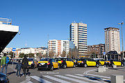 Taxi queue at Sants railway station, Barcelona, Catalonia, Spain