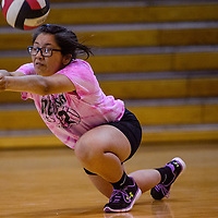 Red Mesa Redskin Talise Haskan (2) dives after a serve from the Saint Michael Cardinals Thursday at the Fort Defiance Fieldhouse.