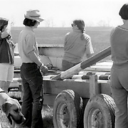 Jane Atkinson, Jane Jullian, Teri Short, Marion Cartly and the dog Ruffus at a combined test held ahead of the 1978 World 3-Day Event Championships at the Kentucky Horse Park, Lexington, Kentucky.