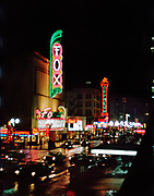 CS01116-20. SW Broadway at Taylor looking North. On left: Fox Theater (now site of Fox tower), Orpheum (now site of Nordstroms). December 1964