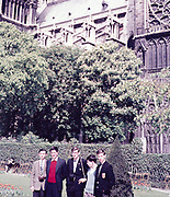 Group of senior secondary schoolboys on educational trip at Notre Dame, Paris, France, c 1960