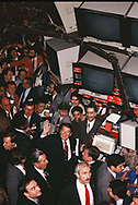 President Ronald Reagan waves from the floor of the New York Stock Exchange on March 28, 1985,<br />Photograph by Dennis Brack