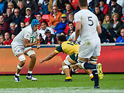 England No.8 Zach Mercer  runs at Australia centre Sione Tuipolotu during the World Rugby U20 Championship  match England U20 -V- Australia U20 at The AJ Bell Stadium, Salford, Greater Manchester, England on June  15  2016, (Steve Flynn/Image of Sport)