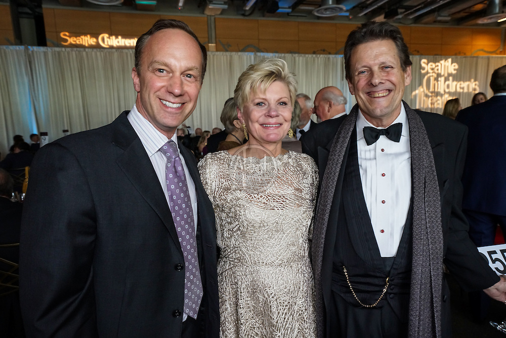 Peter Boal (PNB), Eve Alvord (SCT), and Ben Moore (SRT) at Seattle Children's Theatre Gala honoring Linda Hartzell. Photo by Alabastro Photography.