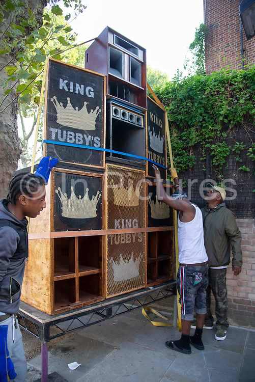 A sound stage is set up at  Notting Hill carnival on 25th August, 2019 in London, United Kingdom. One million people are expected on the streets in scorching temperatures for the Notting Hill Carnival, Europes largest street party and a celebration of Caribbean traditions.