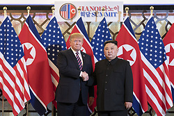 February 27, 2019 - Hanoi, Vietnam - U.S President R=DONALD TRUMP and North Korean leader KIM JONG-UN greet prior to a bilateral meeting at the Sofitel Legend Metropole hotel in Hanoi, Vietnam. (Credit Image: © Shealah Craighead via ZUMA Wire)