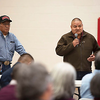 Leslie Begay, left, and Tommy Reed speak to members of the Navajo Nation Council during a public hearing on the impacts of uranium Friday, March 6 at Navajo Technical University in Crownpoint.