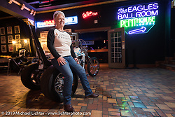 Becky Swinson with her 2010 custom Evo Trike built by Becky's son Scott Jones, at the Mama Tried Show. Milwaukee, WI. USA. Sunday February 25, 2018. Photography ©2018 Michael Lichter.