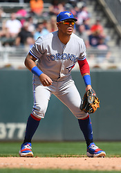 May 2, 2018 - Minneapolis, MN, U.S. - MINNEAPOLIS, MN - MAY 02: Toronto Blue Jays Infield Yangervis Solarte (26) gets into position during a MLB game between the Minnesota Twins and Toronto Blue Jays on May 2, 2018 at Target Field in Minneapolis, MN.The Twins defeated the Blue Jays 4-0.(Photo by Nick Wosika/Icon Sportswire) (Credit Image: © Nick Wosika/Icon SMI via ZUMA Press)